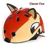 Fatty Tiger Kids Boys/Girls 3D Cartoon Animal Multi-Sport Red Fox Bike Helmet-M