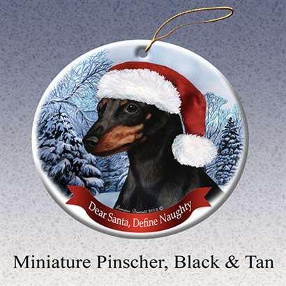 (Holiday Pet Gifts Min Pin, Black and Tan Santa Hat Dog Porcelain Ornament)