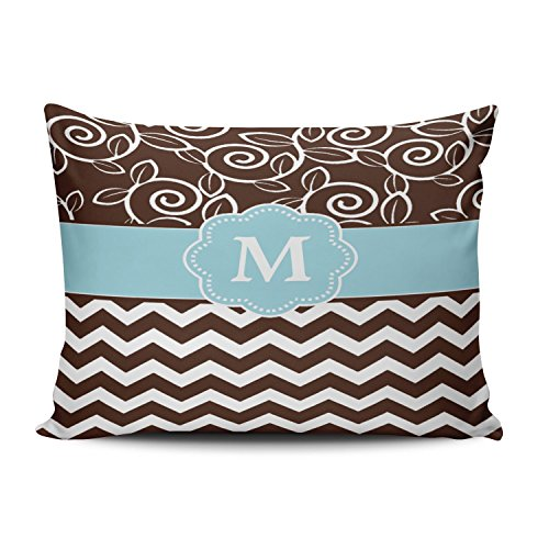 SALLEING Custom Royal Modern Dark Brown and Light Blue Chevron Monogram Decorative Pillowcase Pillowslip Throw Pillow Case Cover Zippered One Side Printed 12x20 Inches