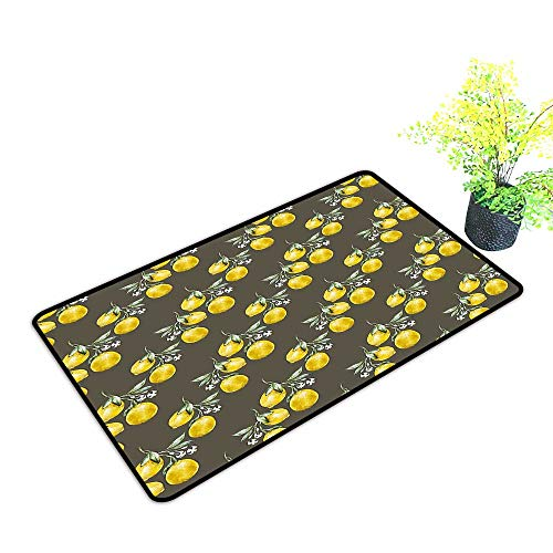 Entrance Door Mat Large Branches with Petals Growth Essence Nature Themed Artsy Print Army and Olive Green Dress Up Your Doorway W21 x H11 INCH]()