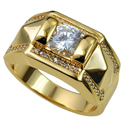 Ring Wedding 18k Gold Band (Ahappy-18k Gold filled MEN'S WEDDING ENGAGEMENT RING BAND R245 (9))