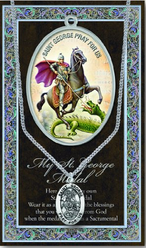 - St George Medal with Prayer Pamphlet - Genuine Pewter
