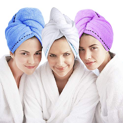 (Microfiber Hair Towel Turban Wrap 3 Pack - Laluztop Anti Frizz Absorbent & Soft Shower head Towel, Quick dryer Hat, Bathing Wrapped Cap for Women Girls Mom)