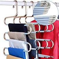 DOIOWN S-Type Stainless Steel Clothes Pants Hangers Closet Storage Organizer for Pants Jeans Scarf Hanging (14.17 x 14.96ins, Set of 3)