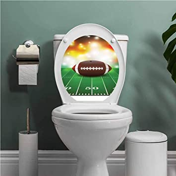 A Toilet Seat Lid Sticker Funny Smile Bathroom Decals Removable Wall Art Tiles