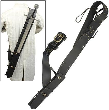 Black Genuine Leather Baldric for Medieval Long Sword Claymore Belt Frog Hanger