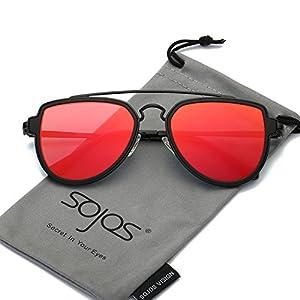 SojoS Fashion Aviator Unisex Sunglasses Flat Mirrored Lens Double Bridge SJ1051 Matte Black Frame/Red Mirrored Lens