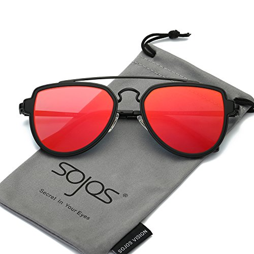 SojoS Fashion Aviator Unisex Sunglasses Flat Mirrored Lens Double Bridge SJ1051 Matte Black Frame/Red Mirrored Lens (Aviator Bridge)