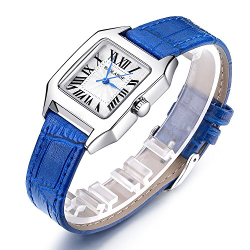 Women Wrist Watch Ladies Waterproof Blue Leather Strap Watches Dress Quartz Watch (Watch Crocodile Square)