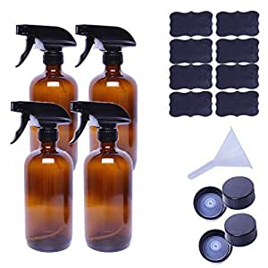 Empty Refillable Amber Glass Spray Bottles of 4 Pack 16 oz for Essential Oil, Aromatherapy, Cleaning Products, Perfume, Alcohol Sterilizer, with 4 Free Sprayers, 4 Caps
