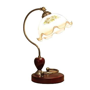 LEGELY lámpara de Mesa de Bronce Retro de Madera Lámpara de ...