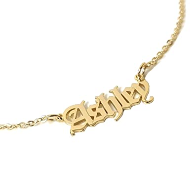 1350befe2e5f2 Beleco Jewelry Personalized Old English Font Name Necklace Custom ...