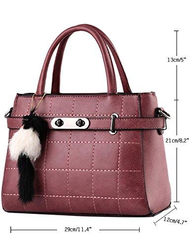 CUKKE Damen PU Handtaschen Damen Handtasche Schwarz Handtasche Schule Damen Handtaschen Diamon-Blau Dunkel-Rot