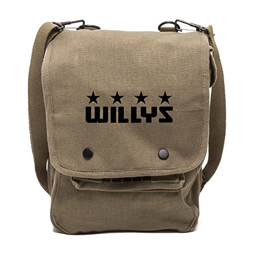 - Army Force Gear Willys Jeep Freedom Stars Military Canvas Crossbody Travel Map Bag Case in Olive & Black