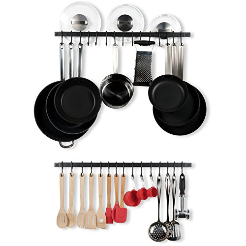 WALLNITURE Kitchen Rail Organizer Iron Hanging Utensils Rack with Hooks Frosty Black 30 Inch Set of 2