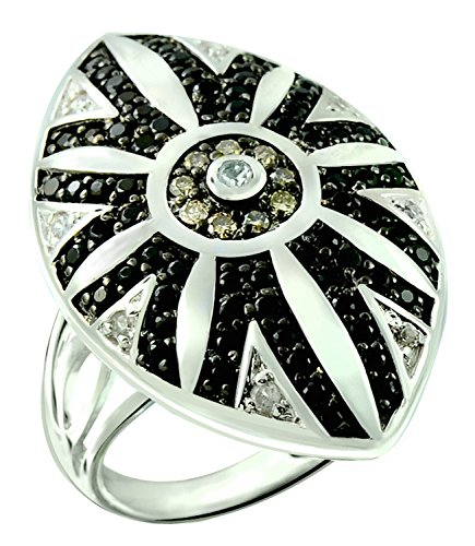1.92 Carats Onyx with Champagne Diamond Rhodium-plated 925 Sterling Silver Statement Ring (8) (Diamond Star Champagne)
