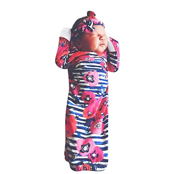 QinMM Floral Pijama Swaddle Saco de Dormir + Sombrero para recién Nacido bebés niños niñas: Amazon.es: Ropa y accesorios