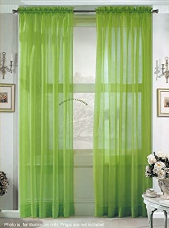 Green Curtains amazon green curtains : Amazon.com: 2 Piece Solid Lime Green Sheer Curtains Fully Stitched ...