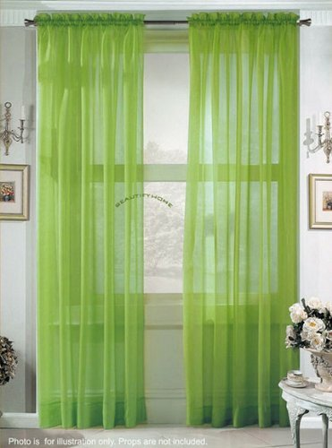 2 Piece Solid Lime Green Sheer Curtains Fully Stitched Panels Window Drape 54quot