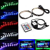 Paddsun Bias Lighting TV Backlight for HDTV LED Strips Lights with 24 Key Remote Control, 2 RGB LED Strip Home Multi Color RGB Neon Accent Lighting for Flat Screen TV Accessories, Desktop PC