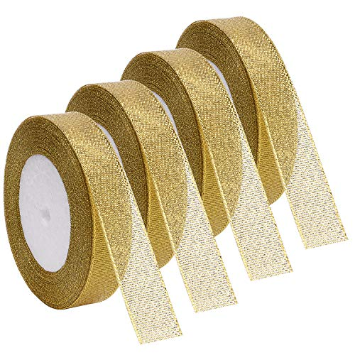 Livder 4 Rolls 4/5 Inch Width Metallic Glitter Ribbons for Holiday Wedding Birthday Party Decoration Gift Wrapping (Golden)
