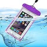 ONX3 (Purple) BLU Studio 5.0 C HD Universal Transparent Mobile Cell Smart Phone, Passport, Money Underwater Waterproof Protection Bag Touch Responsive
