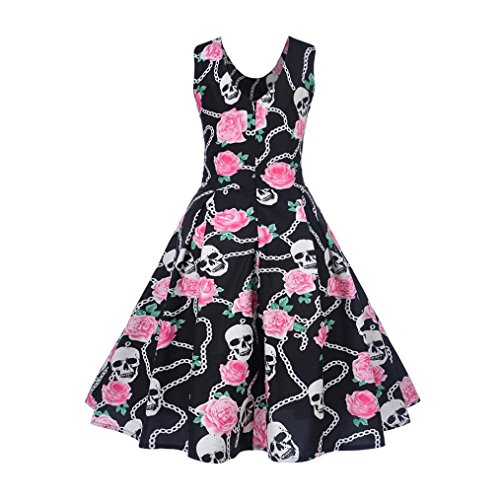 ❀ Damen kleider sommer ❀ Frauen Vintage Druck Bodycon Sleeveless ...