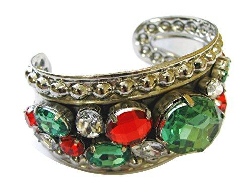 Linpeng FSBA-44 Silver Tone Embossed Cuff Bangle for Women/Acrylic Stones Wide Bangle Bracelet/Size 2 x 1.65, 1