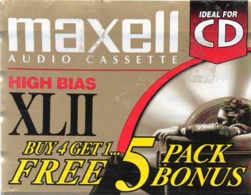Xlii Audio Cassettes - Five Maxell Audio Cassettes: High Bias XLII, 90 minutes, Position IEC Type II High