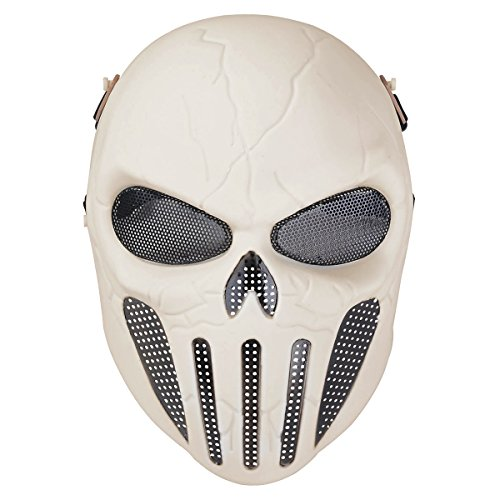 Paintball Airsoft Wargame Field Skull Skeleton Full Head Mask Protect Army Cosplay Mask Gear (White)