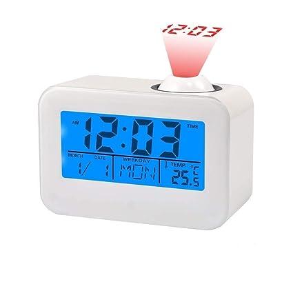 Relojes de Proyección Pantalla LCD Reloj Despertador con Temperatura Fecha Calendario Control de Voz Proyección de