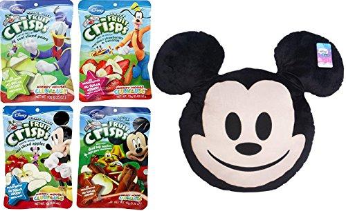 Disney Snacktime Mickey Mouse Big Pillow & Fruit Crisps / Apples / Cinnamon / Pears / Strawberries & Bananas 4-Pack with Emoji Big Character Plush