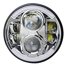 "TURBO SII 80W Chrome 7"" Round LED Headlight For Harley Davidson MOTORCYCLE PROJECTOR Replace DAYMAKER HID LED Llight Bulb Touring Road king Street Glide Ultra Classic Electra Glide Heritage Softail Fatboy Harley Deluxe Yamaha Royal Star Yamaha Road Star Yamaha Cruiser With HI/LO Beam DRL&Amber Turn Singal"