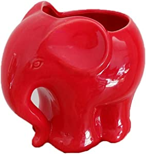 Youfui Cute Succulent Planter Animal Shaped Flower Pot Decor for Home Office Desk (Red)