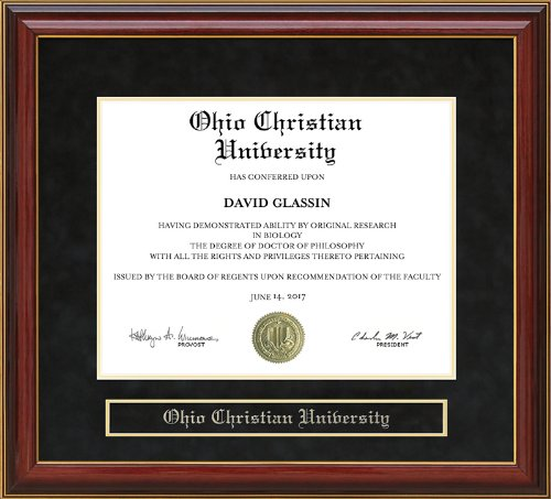 Ohio Christian University (OCU) Diploma Frame - Mahogany by Wordyisms