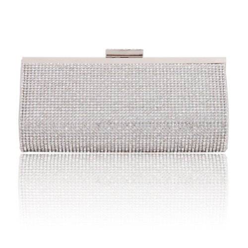 Damara Womens Front Fully Crystal Chic Clutch Evening Bag, Silver ()