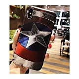 I Phone Case Marvel Super Hero Superman Captain America 3D Relief Case for iPhone 7 Plus 8 Plus Soft TPU Phone Cases for i Phone (Captain America/I Phone 7 Plus or 8 Plus)