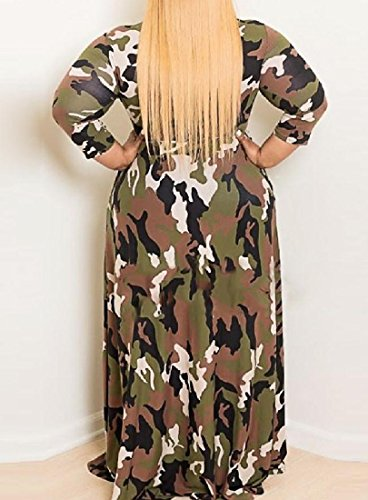 Camo Length Green Coolred Women Full Ruffle Long Oversized Dress Army Sleeve fxPUwHq5U