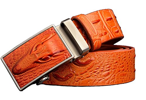 IGOBLIN Mens Business Casual Classic Retro Sliding Buckle Automatic Ratchet (Caiman Crocodile Belt)
