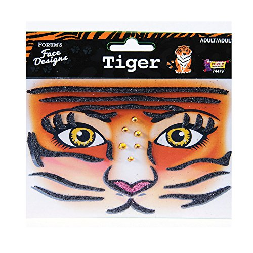 Face Designs Stick on Accessory Glitter Crystals (Tiger) -
