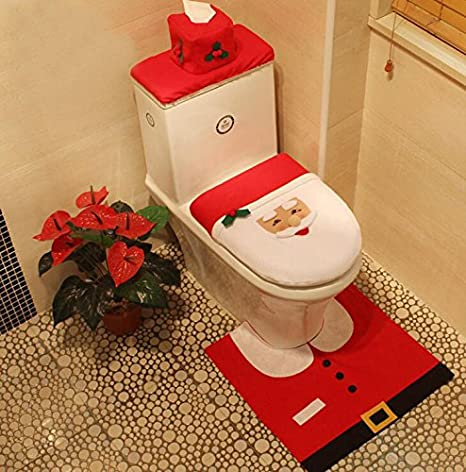 3 Piece Bath Mat Set Christmas Decorations Happy Santa Toilet Seat Cover Set OE418D