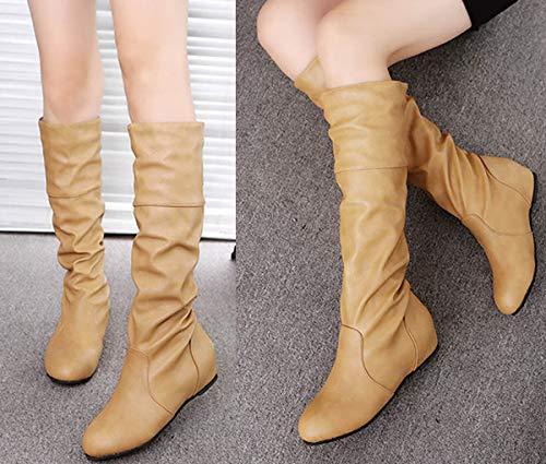 boots da stivali alti cachi moda inverno casual pieghettati stivali di gli autunno  donna minetom pelle with stivali moda inverno d8fae5be012