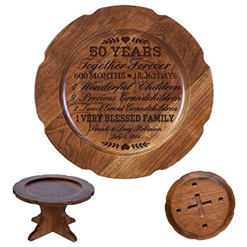 - LifeSong Milestones Personalized 50th Wedding Anniversary Cherry Cake Stand Gift for Her, Happy 50 Year Anniversary for Him 10
