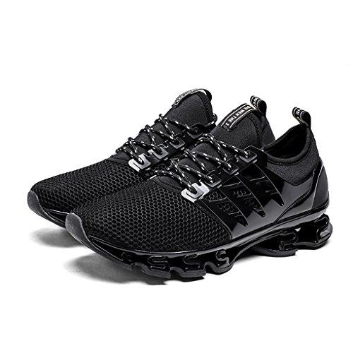 Dannto Hommes Respirant Baskets En Plein Air Sport Chaussures De Course Casual Léger Anti-dérapant Rembourrage Noir