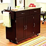 Extra Large Kitchen Island Indoor Extra Large Kitchen Cart Storage Rolling Island Wood Utility Cabinet Top Portable Table, Espresso with Stainless Steel Top