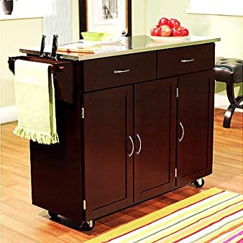 Indoor Extra Large Kitchen Cart Storage Rolling Island Wood Utility Cabinet Top Portable Table Espresso With Stainless Steel Top