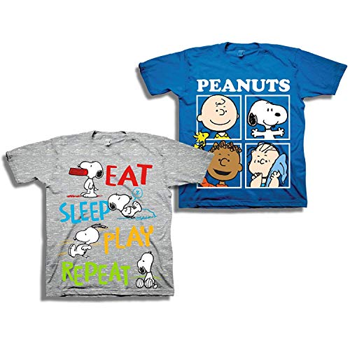 Peanuts Toddler Boys Snoopy Shirt - 2 Pack of Classic Tees - Snoopy, Linus, Woodstock, and Charlie Brown (Grey/Royal, 4T) -