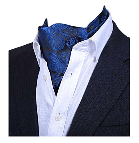 Silk Ascot (MENDENG Men's Blue Paisley Jacquard Woven Silk Cravat Necktie Scarf Formal Ascot)