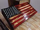 Rustic Wood American Flag Concealment Cabinet