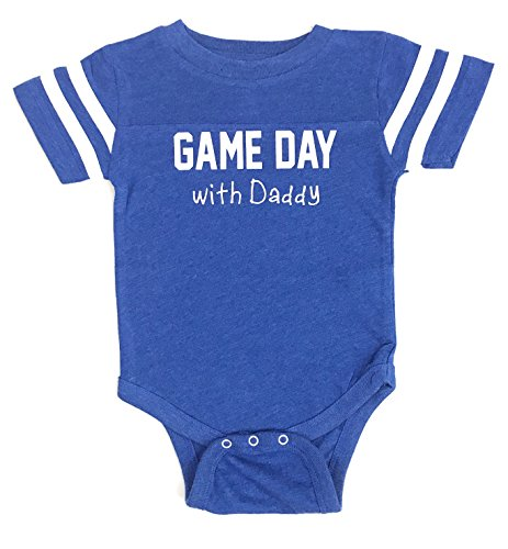 Game Day with Daddy Ultra Soft Baby Jersey-Style Bodysuit (6 Months, Royal Blue ()